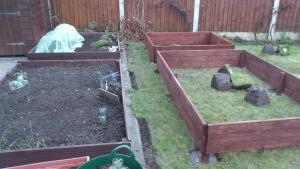 Raised beds under construction earlier in the year