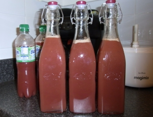 Freshly bottled grape juice