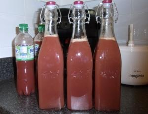 Freshly bottled grape juice
