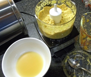 The mustard coming together in the blender, with excess soaking liquor ready to thin it.
