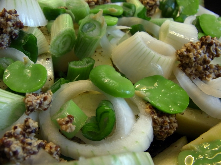 Add broad beans and home-made wholegrain mustard
