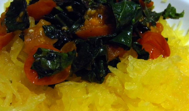 Spaghetti squash with winter vegetables