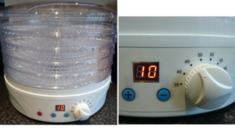 My new dehydrator. The panel allows you to set the number of hours (ten shown here) and the temperature (45 degrees in this case).