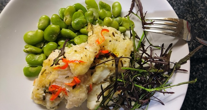 Cod with home grown vegetables