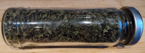 Dried lemon balm, ready for home-made tea blends.