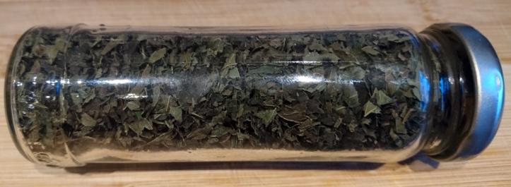 Dried lemon balm, ready for home-made tea blends.